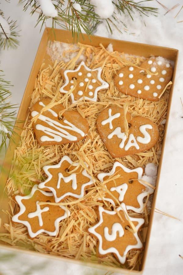 Kerstmiskoekjes in een doos op een sneeuw stock afbeelding