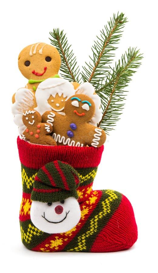 Kerstmiskoekjes in een sok royalty-vrije stock fotografie