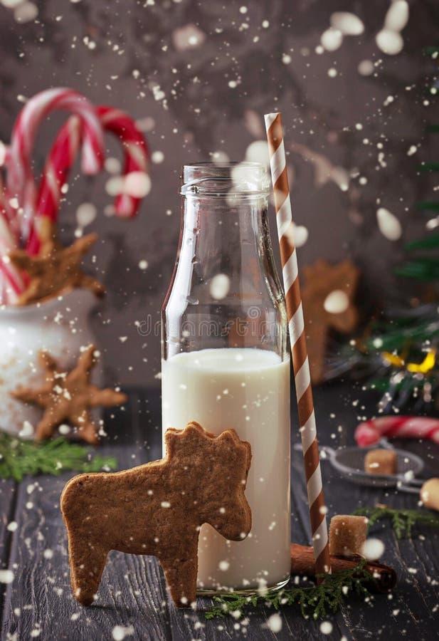 Kerstmiskoekjes in vorm van herten en melk stock afbeelding