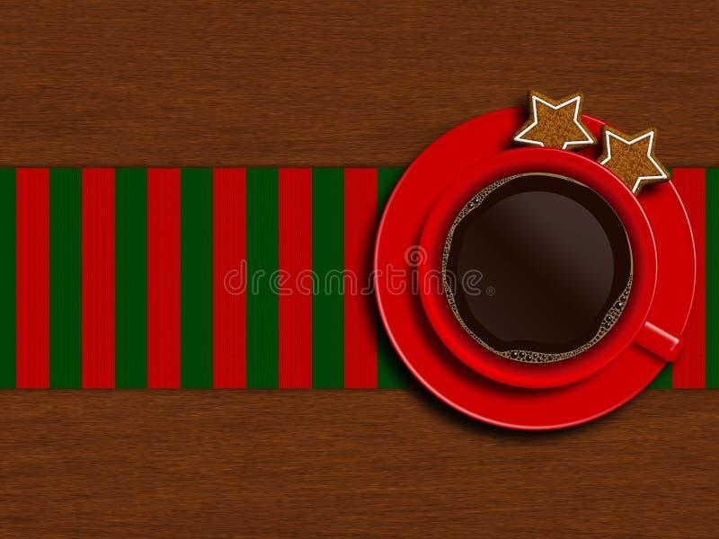 Kerstmiskop van koffie met koekjes die op houten lijst liggen royalty-vrije illustratie