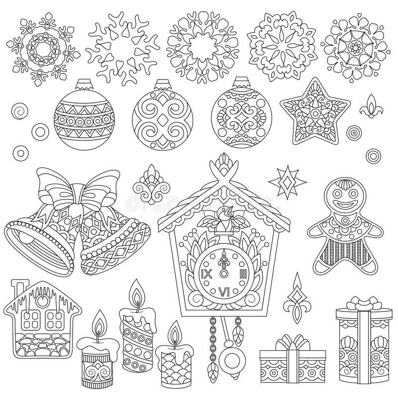Kerstmiskrabbels en zentangle ornamenten royalty-vrije illustratie