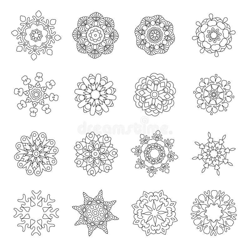 Kerstmiskrabbels met de wintersneeuwvlokken vector illustratie