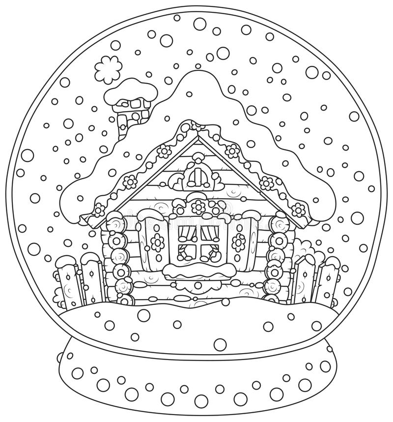 Kerstmiskristallen bol met een snow-covered hut vector illustratie