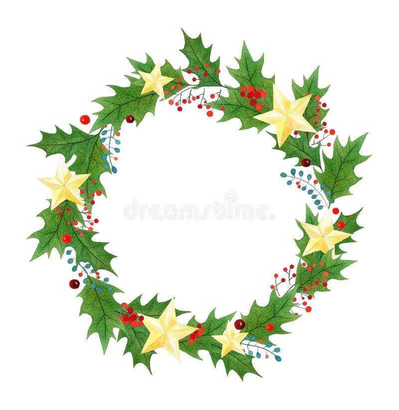 Kerstmiskroon of kader met hulstbessen, bladeren en gouden die sterren in waterverf op een witte achtergrond worden geschilderd royalty-vrije illustratie