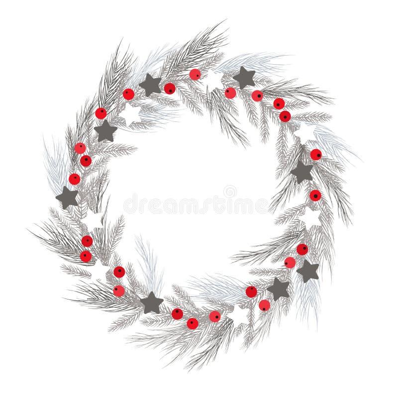 Kerstmiskroon met bessen en sterren Vector illustratie vector illustratie