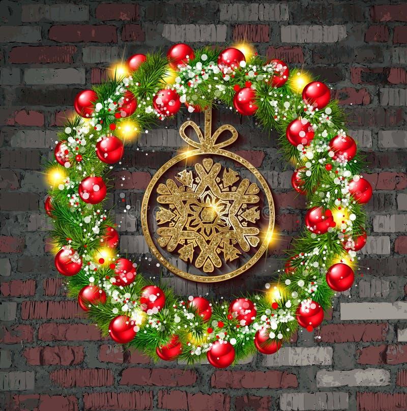 Kerstmiskroon met een Gouden sneeuwvlok royalty-vrije illustratie
