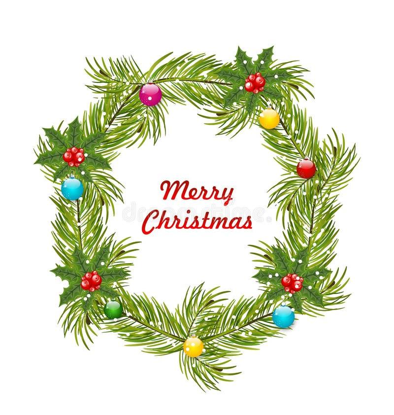 Kerstmiskroon met Holly Berries royalty-vrije stock afbeeldingen