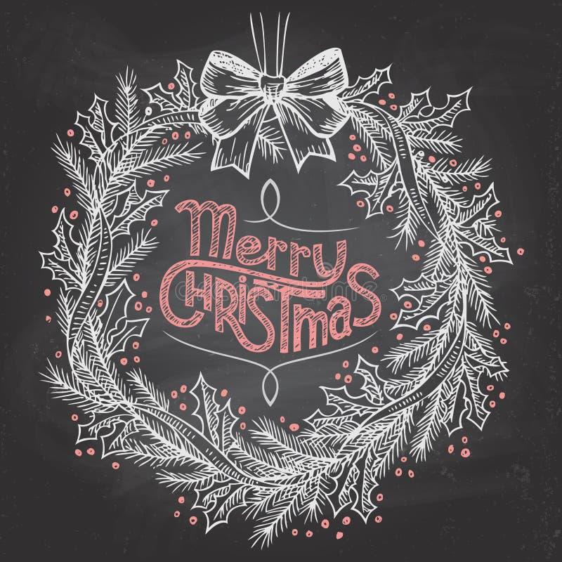 Kerstmiskroon met krijt stock illustratie