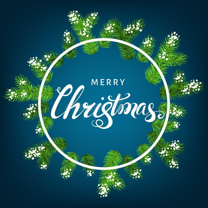 Kerstmiskroon met nette tak, sneeuw en het van letters voorzien stock illustratie