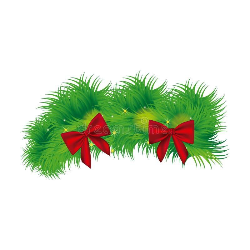 Kerstmiskroon met rood boogpictogram stock illustratie
