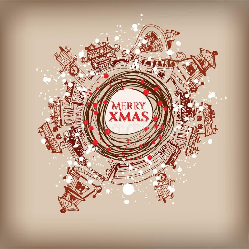 Kerstmiskroon met stedelijke decor en teksten royalty-vrije illustratie