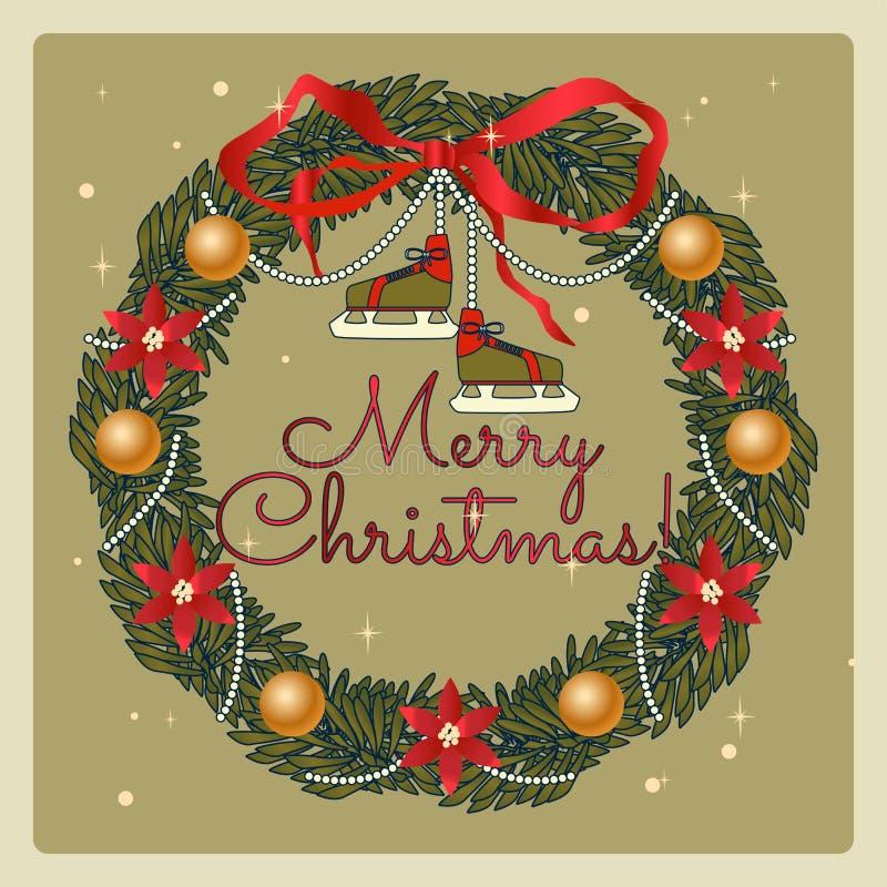 Kerstmiskroon met vleten van retro stijl Kerstmis en de Nieuwe getrokken illustratie van de jarenvakantie hand stock fotografie