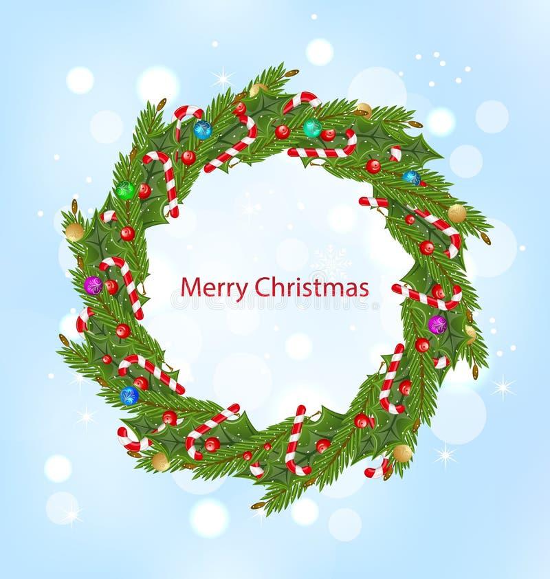Kerstmiskroon, Nieuwjaardecoratie vector illustratie