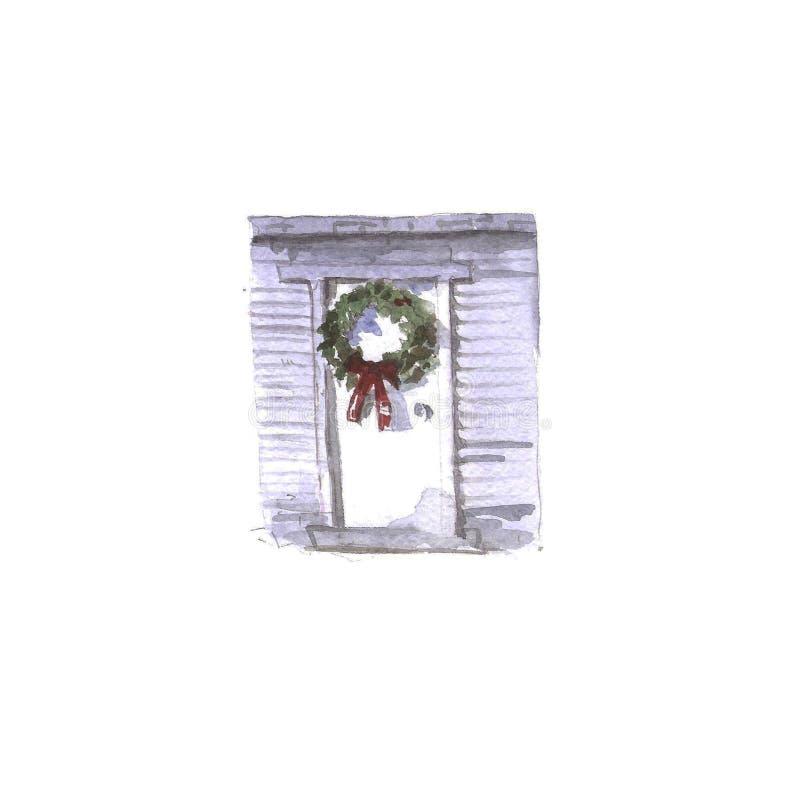 Kerstmiskroon op de kaart van de deurwaterverf Nieuwjaar ` s en Kerstmis vector illustratie