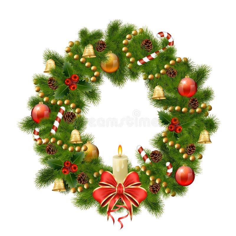 Kerstmiskroon op witte achtergrond. Kerstmisdecoratie vector illustratie