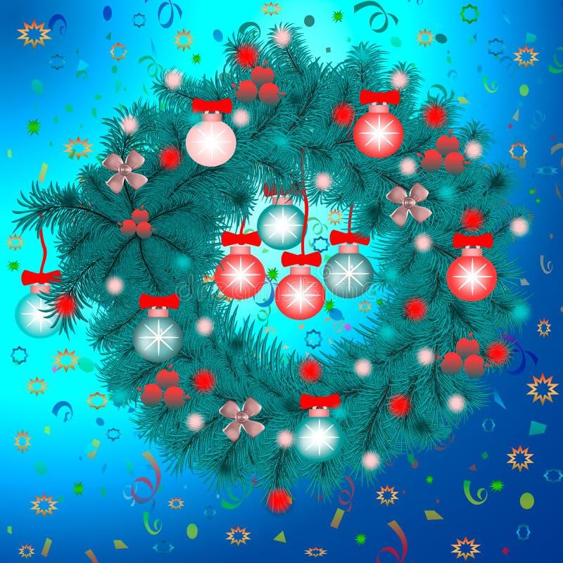 Kerstmiskroon van blauwe nette takken op een achtergrond van confettien Nieuwjaar, Kerstmis, Kerstavond royalty-vrije stock foto