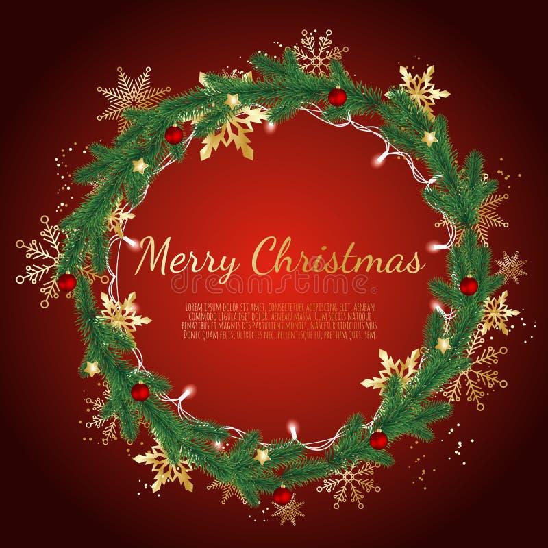 Kerstmiskroon van Pijnboomtakken Verfraaide gouden sneeuwvlokken, het Gloeien Kerstmislichten en Kerstmisballen die wordt gemaakt royalty-vrije illustratie