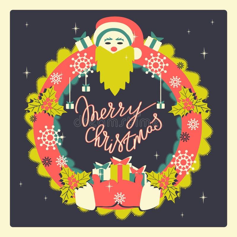 Kerstmiskroon van retro stijl Kerstmis en de Nieuwe getrokken illustratie van de jarenvakantie hand royalty-vrije stock fotografie