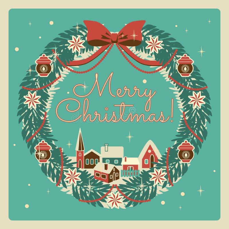 Kerstmiskroon van retro stijl met huizen Kerstmis en de Nieuwe getrokken illustratie van de jarenvakantie hand royalty-vrije stock fotografie
