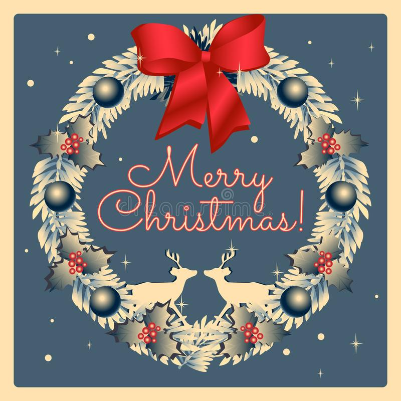 Kerstmiskroon van retro stijl met rendier Kerstmis en de Nieuwe getrokken illustratie van de jarenvakantie hand royalty-vrije stock foto