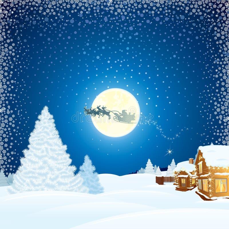 Kerstmislandschap met Santa Claus Sleigh stock illustratie