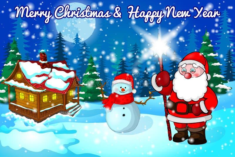 Kerstmislandschap met sneeuw, bos, huis en Kerstman Vector illustratie stock illustratie