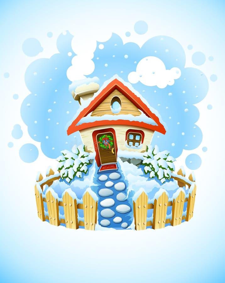 Kerstmislandschap van de winter met huis in sneeuw vector illustratie
