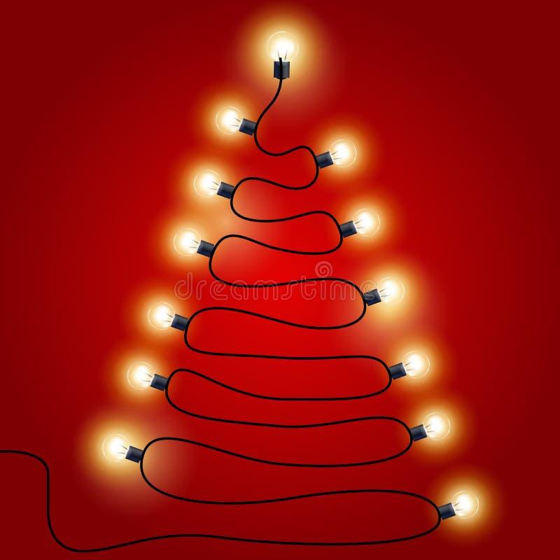 Kerstmislichten als Kerstboom gestalte die worden gegeven die stock illustratie