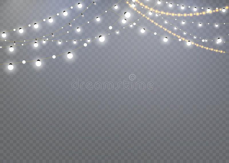 Kerstmislichten op een transparante achtergrond worden geïsoleerd die Kerstmis gloeiende slinger decoratie voor het nieuwe jaar e vector illustratie