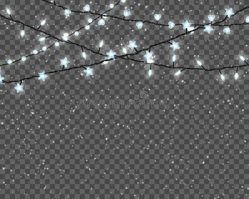 Kerstmislichten op transparante achtergrond worden geïsoleerd die Grens met realistische Kerstmis gloeiende slinger en dalende sn royalty-vrije illustratie
