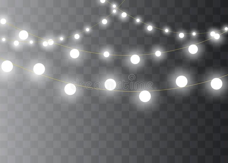 Kerstmislichten op transparante achtergrond worden geïsoleerd die Kerstmis gloeiende slinger Vector illustratie stock illustratie