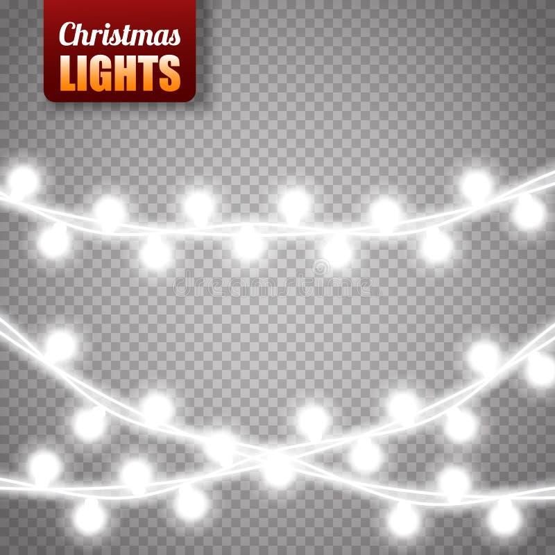 Kerstmislichten op transparante achtergrond worden geïsoleerd die Vectorkerstmis gloeiende slinger stock illustratie