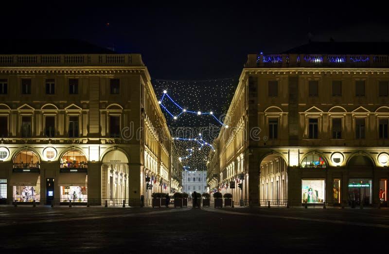 Kerstmislichten in Turijn met constellaties en astronomie hen royalty-vrije stock foto's