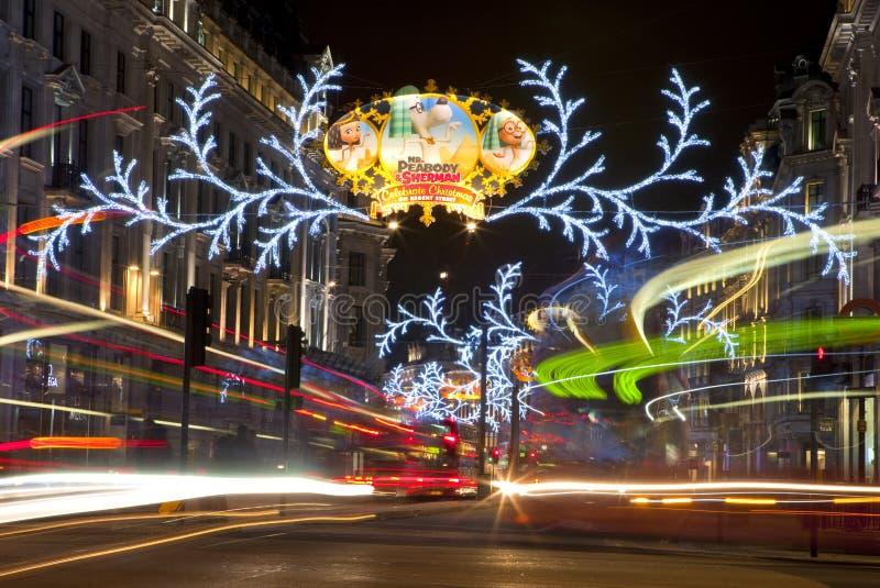 Kerstmislichten van Londen op Regent Street royalty-vrije stock afbeeldingen