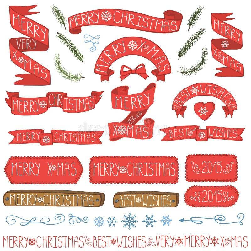 Kerstmislinten, kentekens, de reeks van het de winterdecor stock illustratie