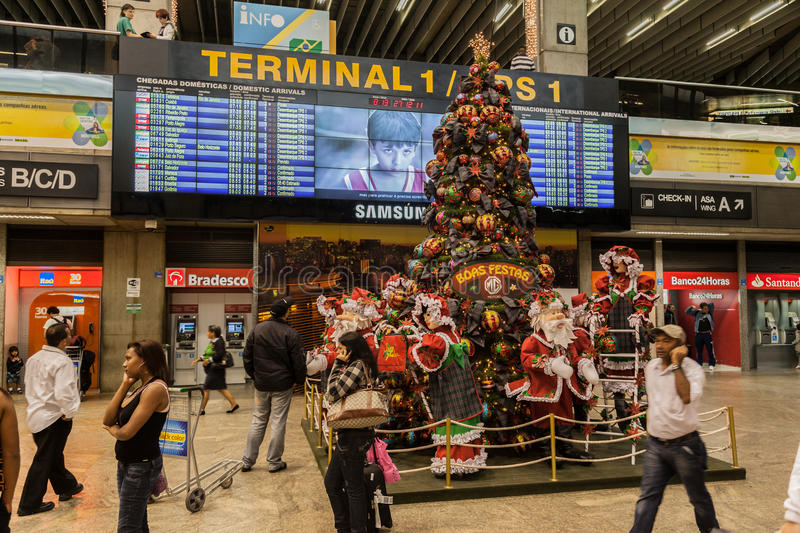 Kerstmisluchthaven Sao Paulo royalty-vrije stock foto
