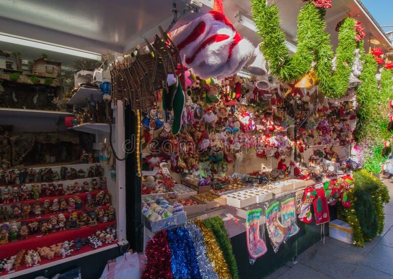 Kerstmismarkt Barcelona stock afbeelding
