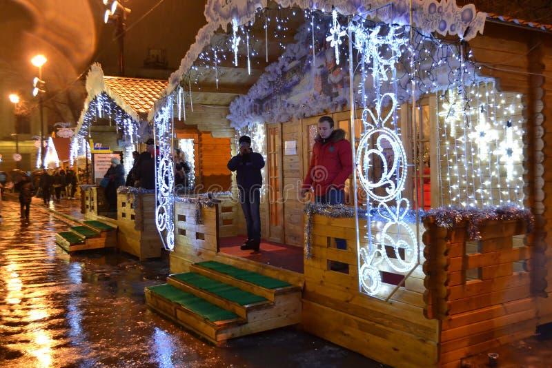 Kerstmismarkt bij nacht royalty-vrije stock afbeeldingen