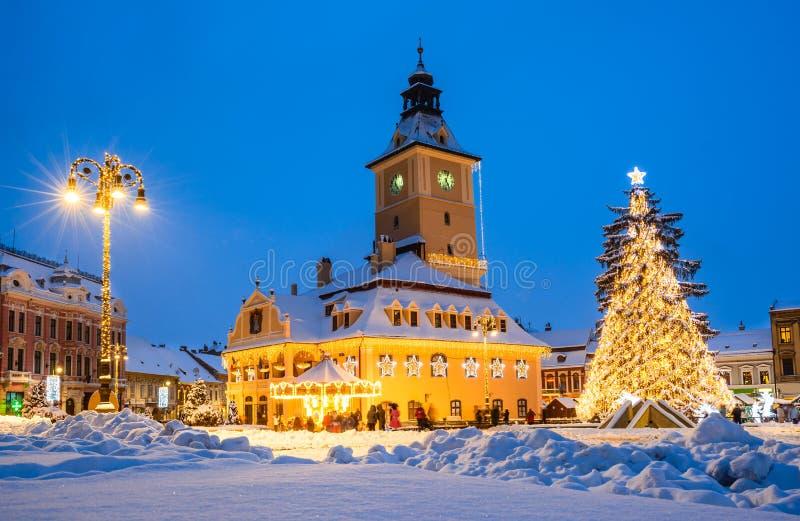 Kerstmismarkt, Brasov, Roemenië royalty-vrije stock afbeelding