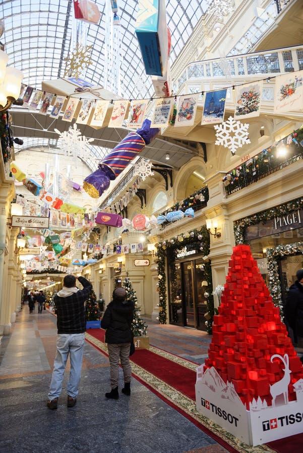 Kerstmismarkt in de GOM, Moskou, Rusland stock afbeeldingen