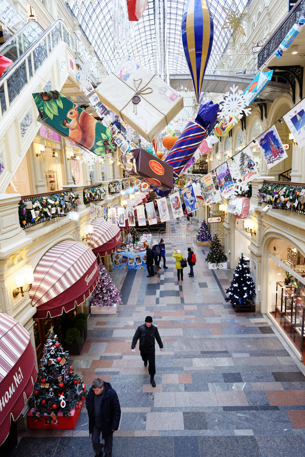Kerstmismarkt in de GOM, Moskou, Rusland royalty-vrije stock afbeeldingen