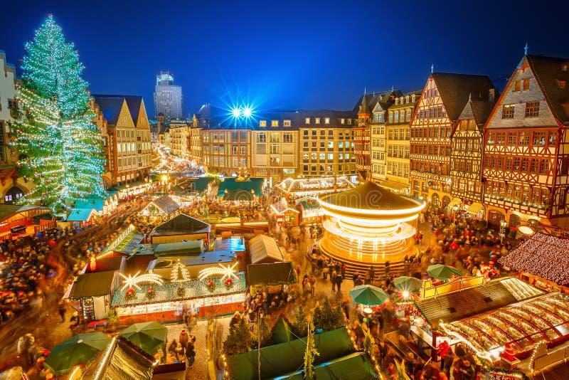 Kerstmismarkt in Frankfurt stock afbeelding