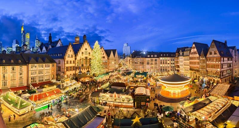 Kerstmismarkt in Frankfurt, Duitsland royalty-vrije stock foto