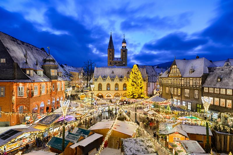 Kerstmismarkt in Goslar, Duitsland royalty-vrije stock foto