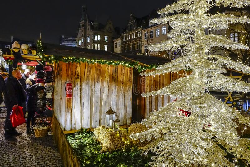 Kerstmismarkt in Kopenhagen stock afbeelding