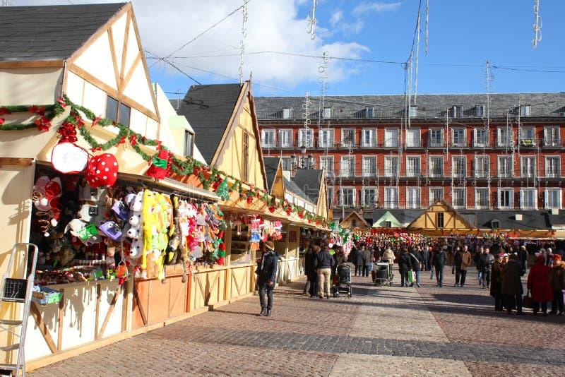 Kerstmismarkt in Madrid stock afbeelding