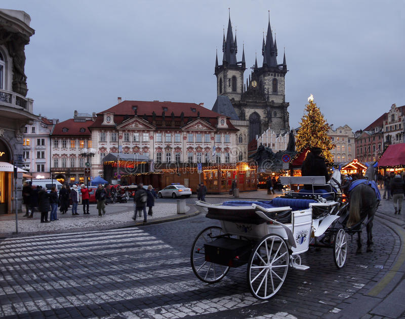 Kerstmismarkt, Praag stock afbeeldingen