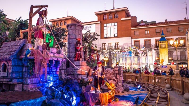 Kerstmismarkt in Torrejon DE Ardoz dichtbij Madrid, Spanje stock afbeeldingen