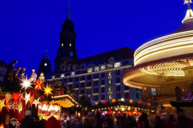 Kerstmismarkt van Dresden royalty-vrije stock foto's
