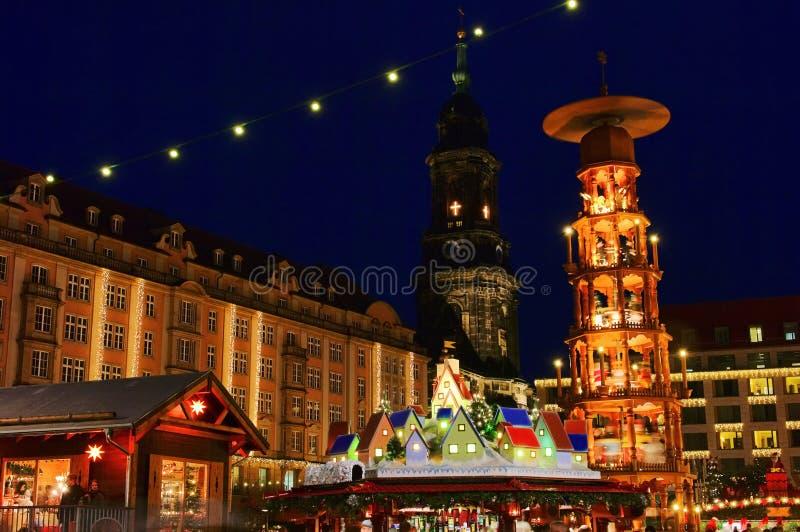 Kerstmismarkt van Dresden royalty-vrije stock fotografie